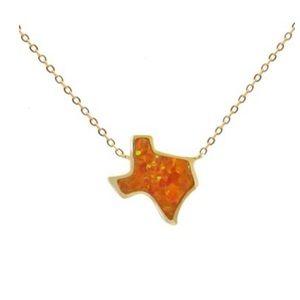 Texas fire opal necklace (reddish orange)